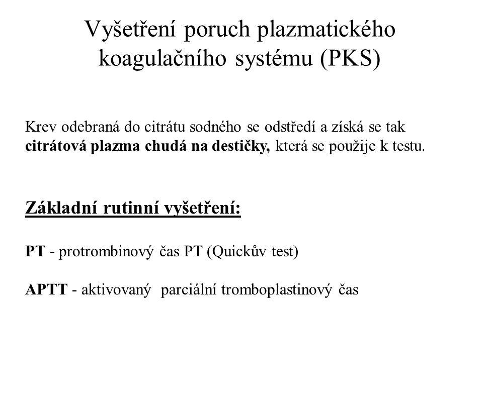 Vyšetření poruch plazmatického koagulačního systému (PKS)