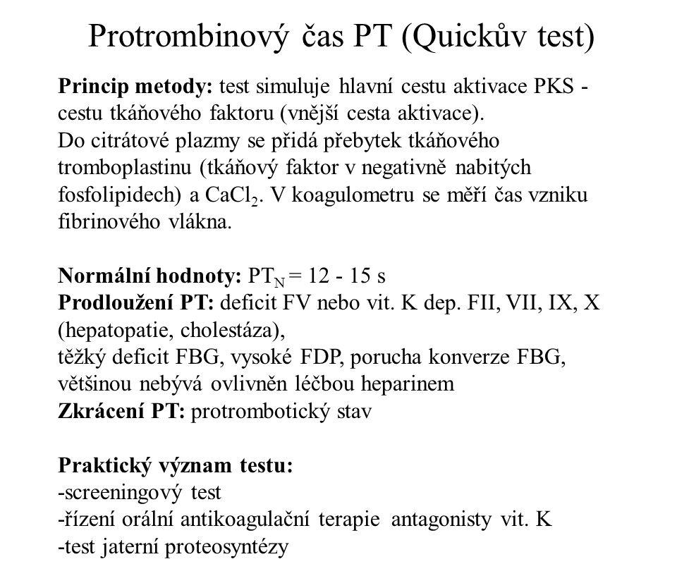 Protrombinový čas PT (Quickův test)