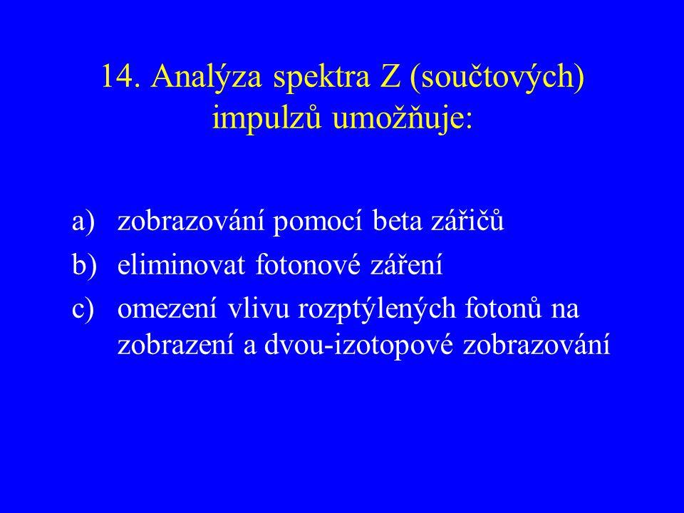 14. Analýza spektra Z (součtových) impulzů umožňuje: