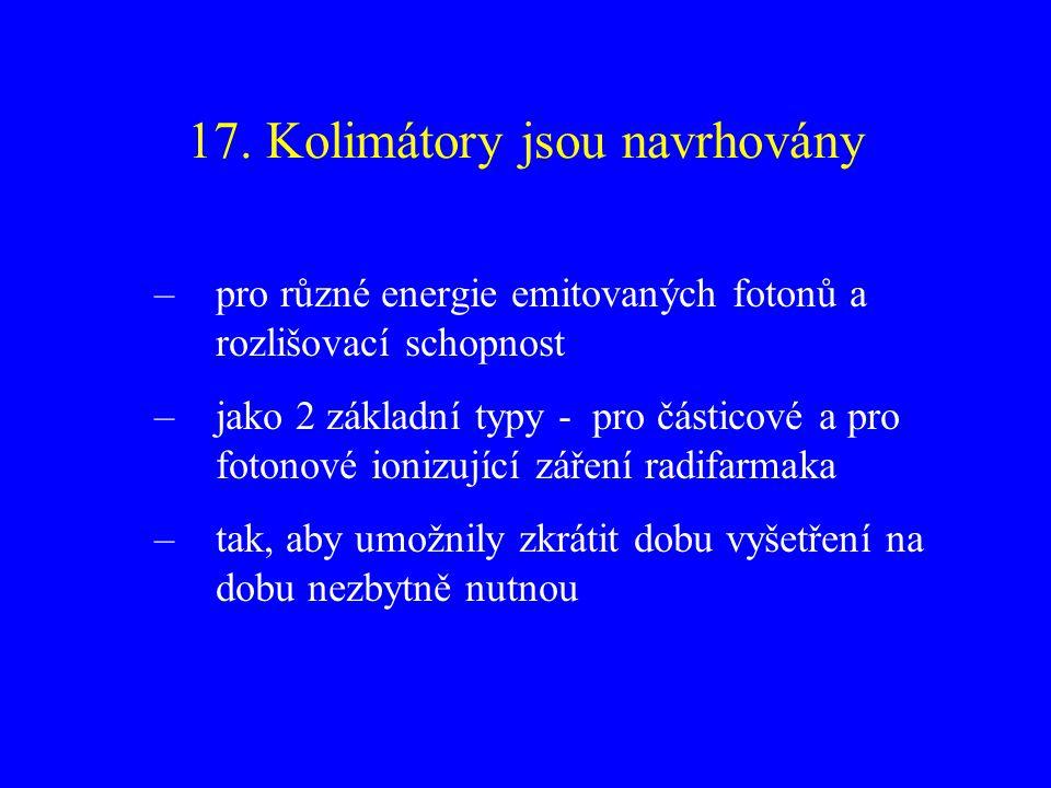 17. Kolimátory jsou navrhovány