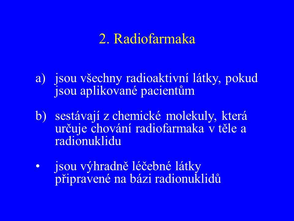 2. Radiofarmaka jsou všechny radioaktivní látky, pokud jsou aplikované pacientům.