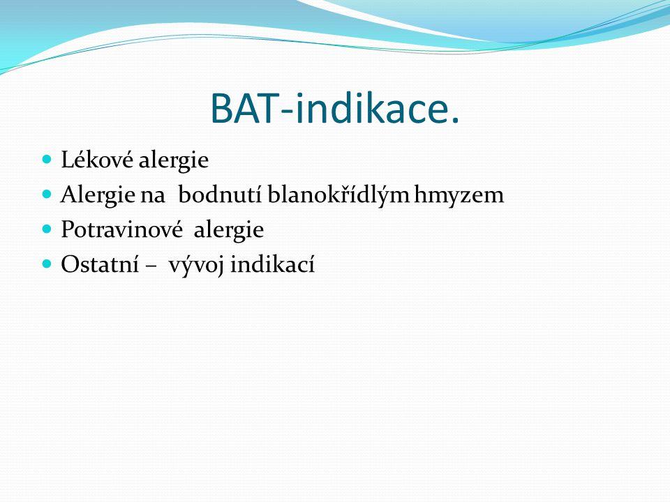 BAT-indikace. Lékové alergie Alergie na bodnutí blanokřídlým hmyzem