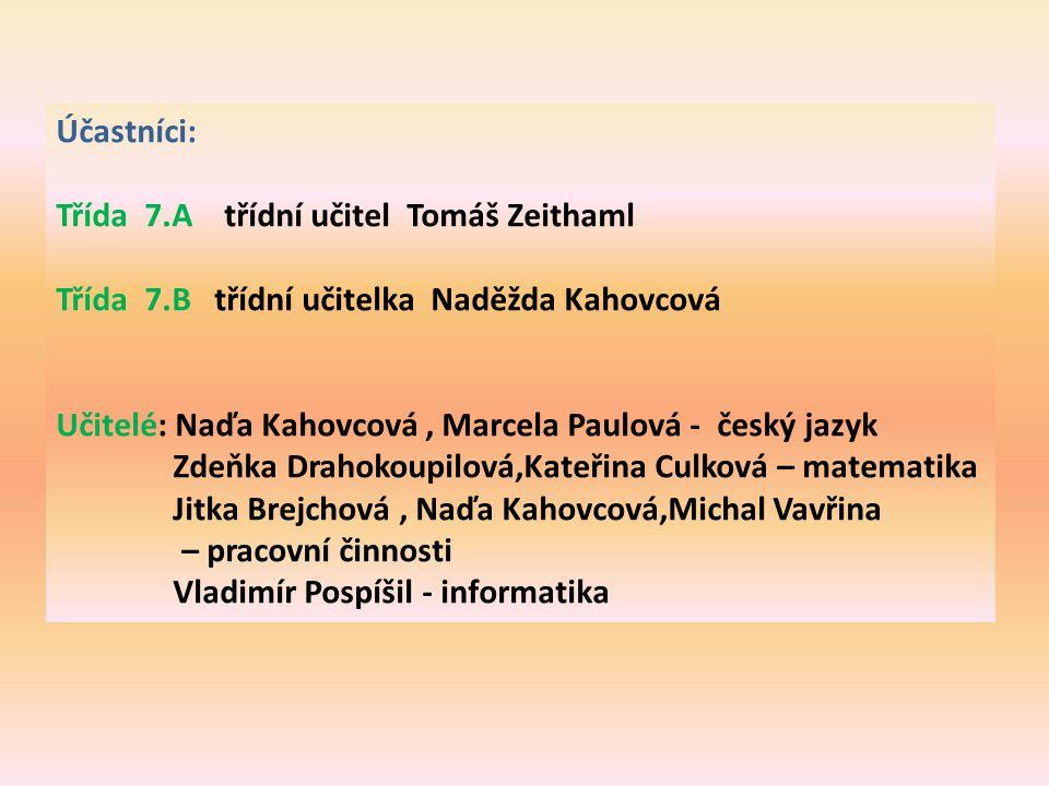 Účastníci: Třída 7.A třídní učitel Tomáš Zeithaml. Třída 7.B třídní učitelka Naděžda Kahovcová.