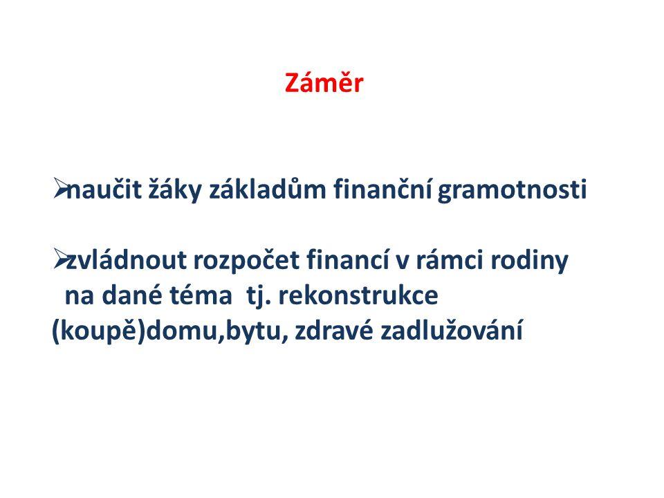 Záměr naučit žáky základům finanční gramotnosti. zvládnout rozpočet financí v rámci rodiny.