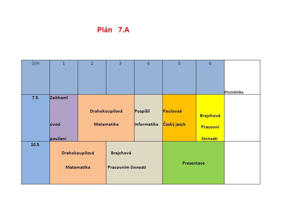 Plán 7.A D/H 1 2 3 4 5 6 7.5. Zeithaml Drahokoupilová Pospíšil
