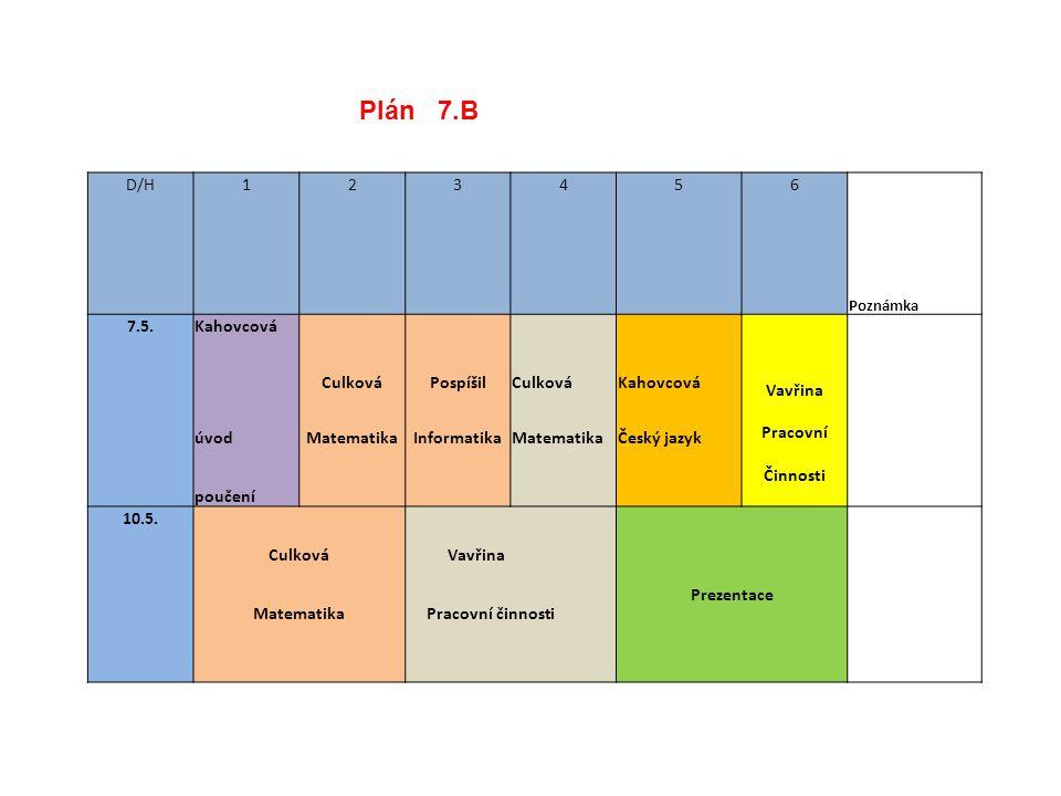 Plán 7.B D/H 1 2 3 4 5 6 7.5. Kahovcová Culková Pospíšil Vavřina