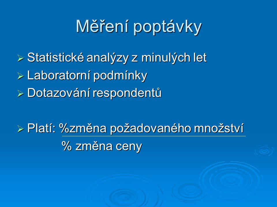 Měření poptávky Statistické analýzy z minulých let