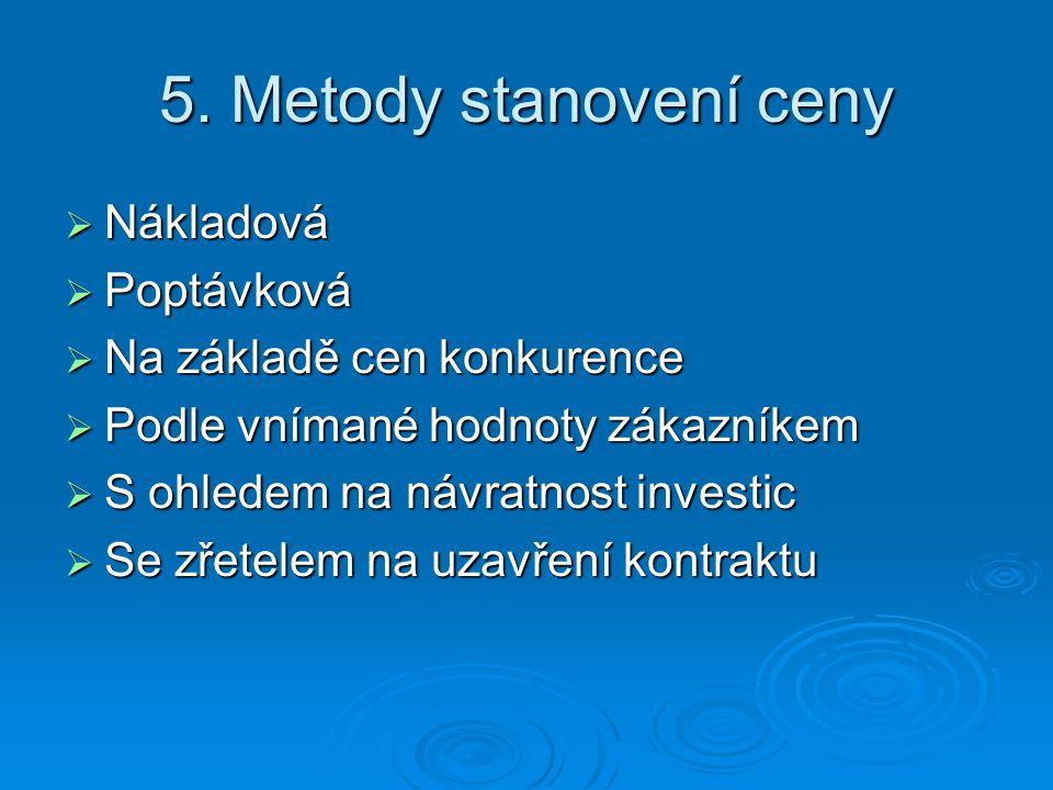 5. Metody stanovení ceny Nákladová Poptávková