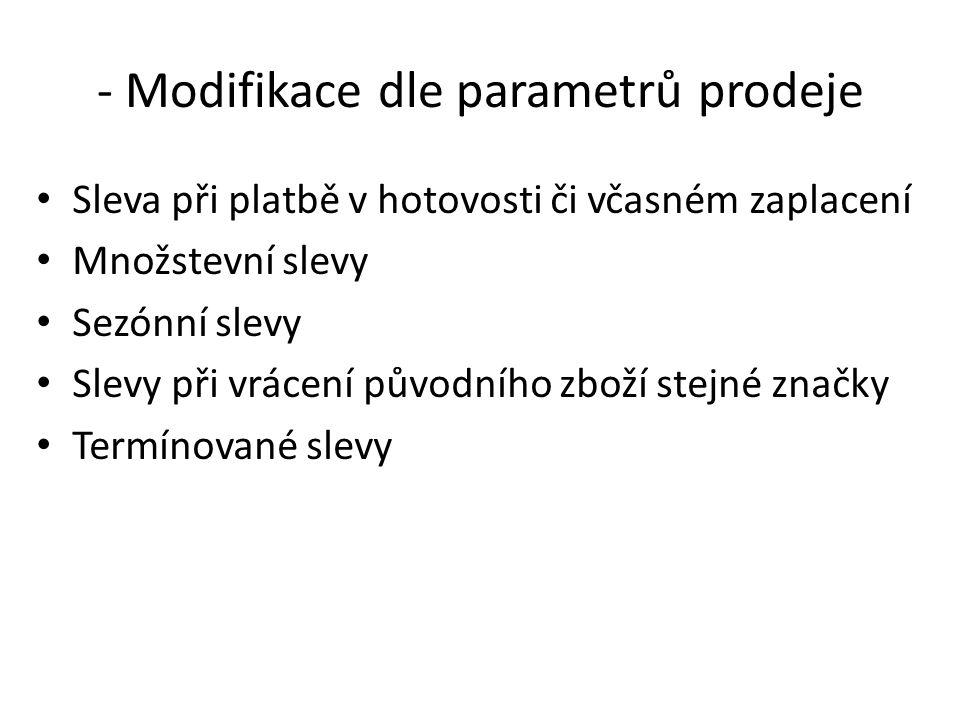 - Modifikace dle parametrů prodeje