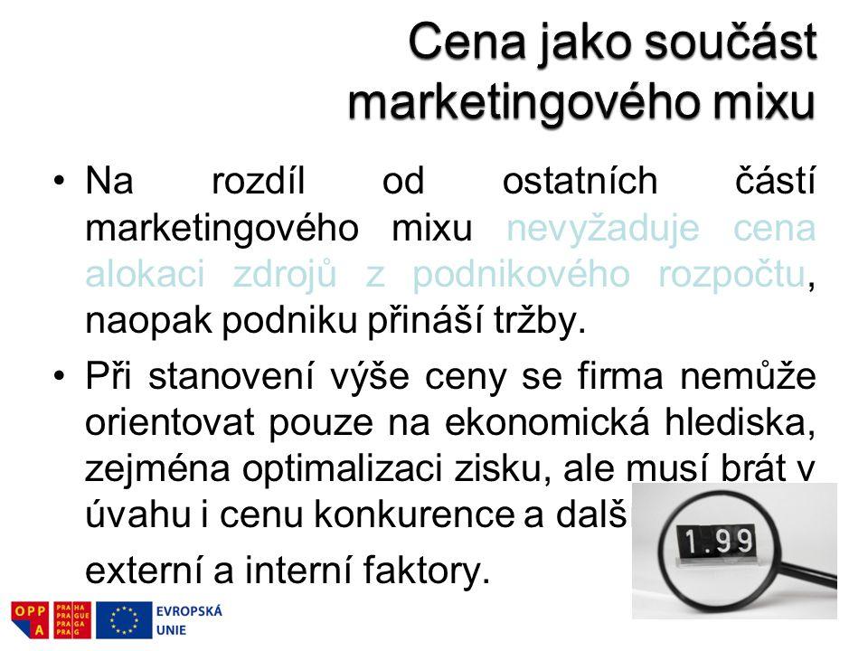 Cena jako součást marketingového mixu