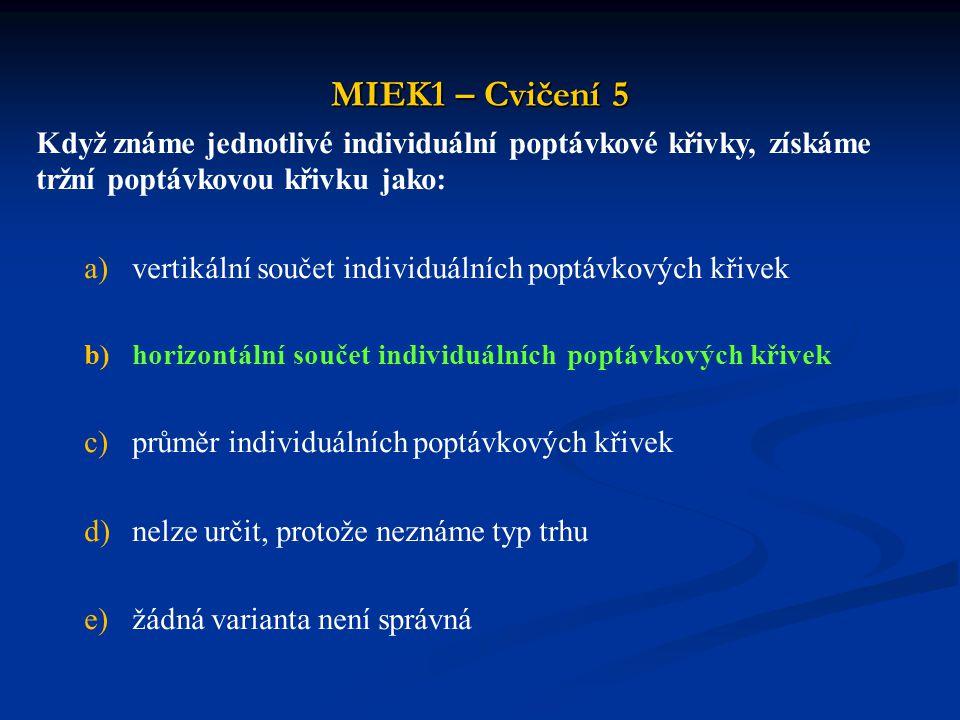 MIEK1 – Cvičení 5 Když známe jednotlivé individuální poptávkové křivky, získáme tržní poptávkovou křivku jako: