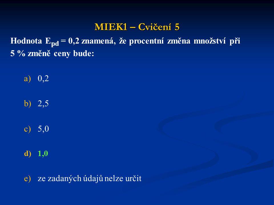 MIEK1 – Cvičení 5 Hodnota Epd = 0,2 znamená, že procentní změna množství při. 5 % změně ceny bude: