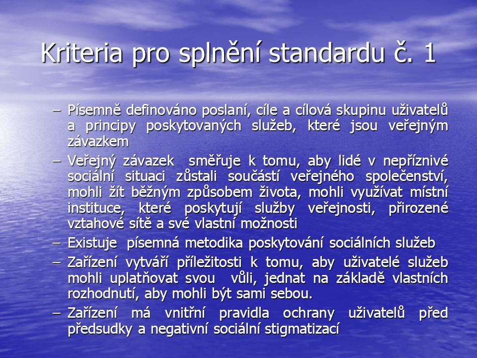 Kriteria pro splnění standardu č. 1