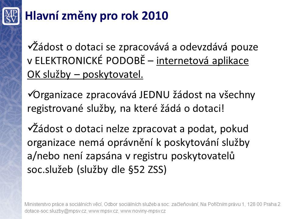 Hlavní změny pro rok 2010 Žádost o dotaci se zpracovává a odevzdává pouze v ELEKTRONICKÉ PODOBĚ – internetová aplikace OK služby – poskytovatel.