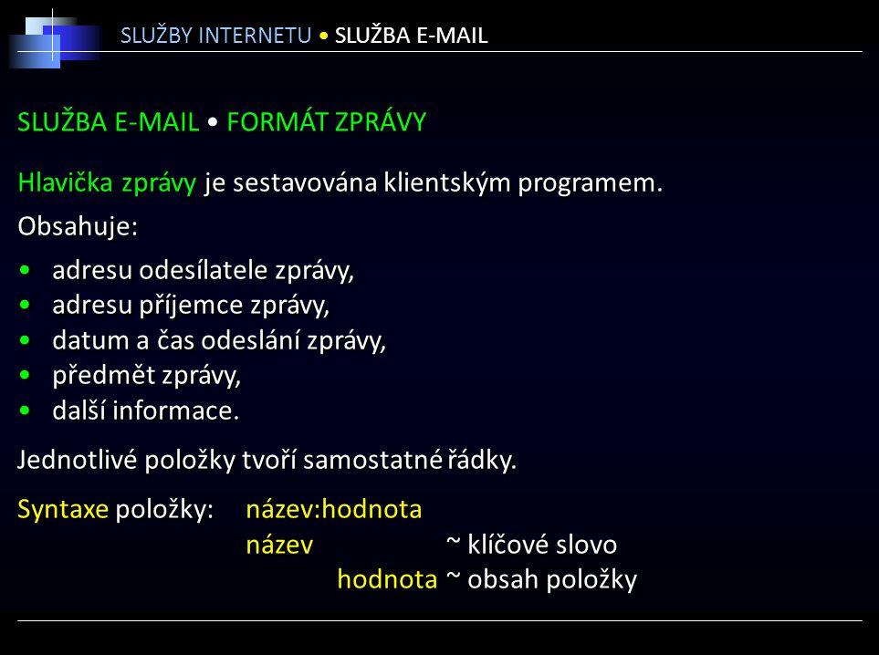 SLUŽBA E-MAIL • FORMÁT ZPRÁVY
