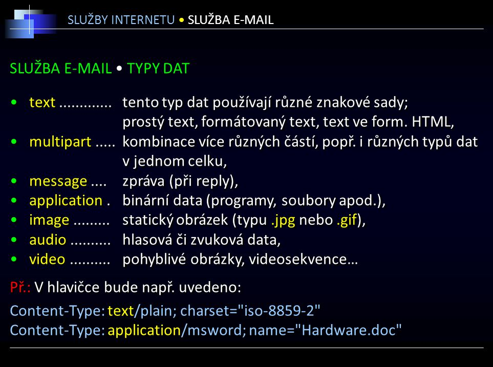 SLUŽBA E-MAIL • TYPY DAT