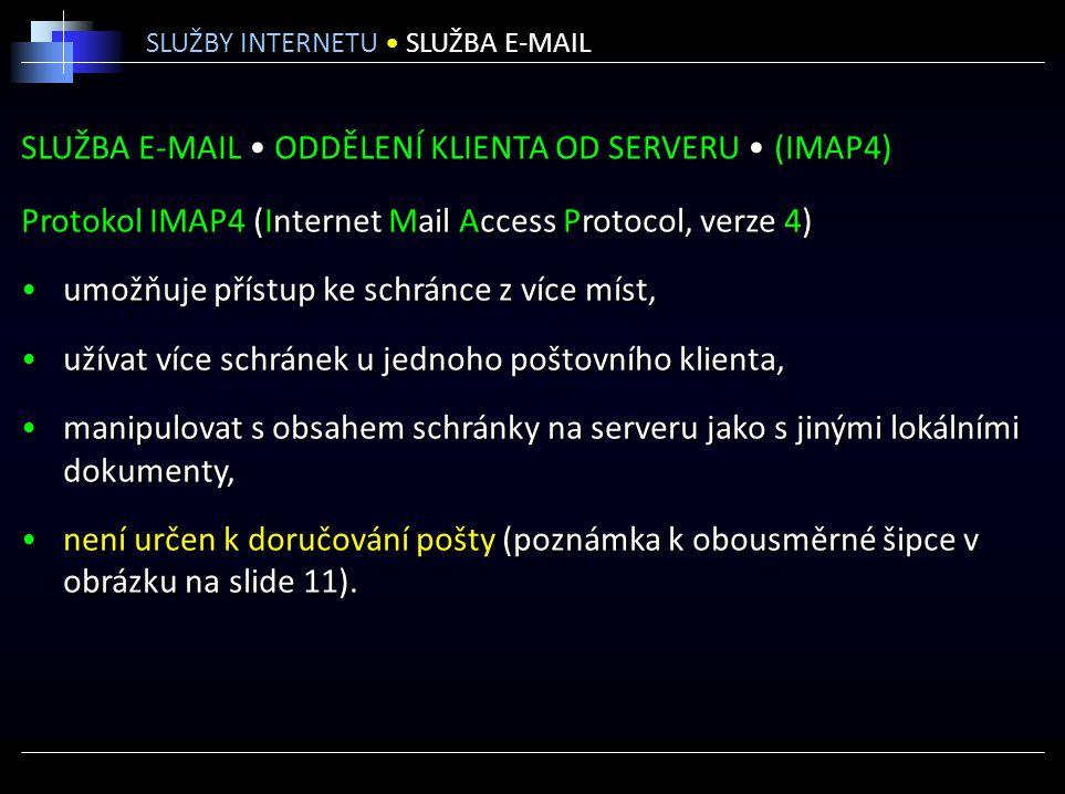 SLUŽBA E-MAIL • ODDĚLENÍ KLIENTA OD SERVERU • (IMAP4)