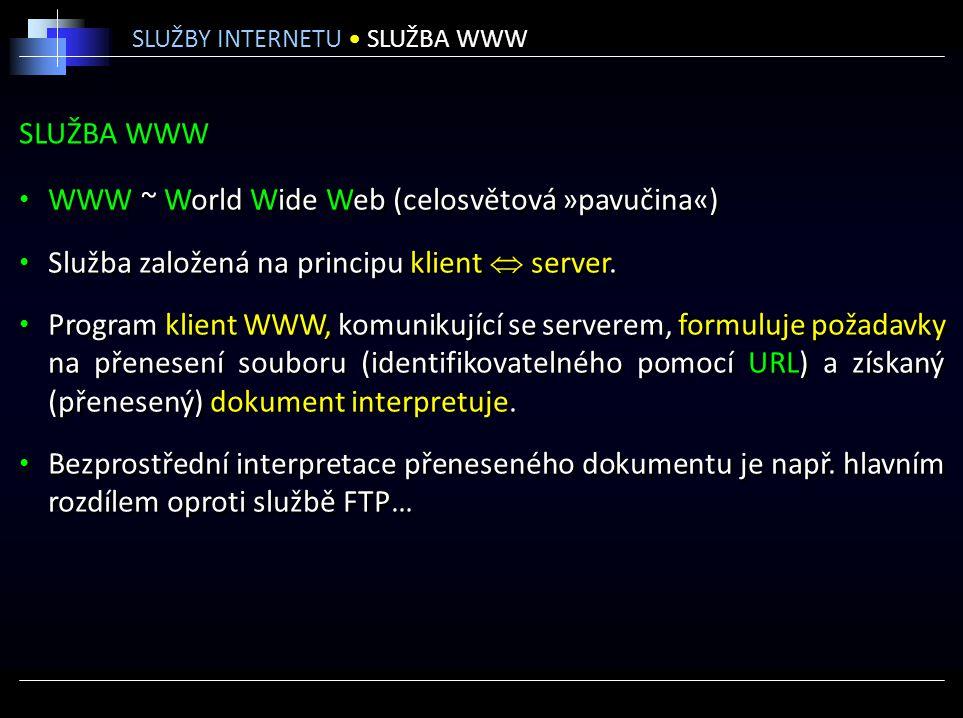 WWW ~ World Wide Web (celosvětová »pavučina«)