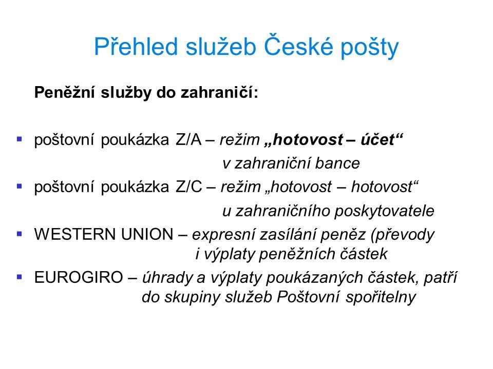 Přehled služeb České pošty