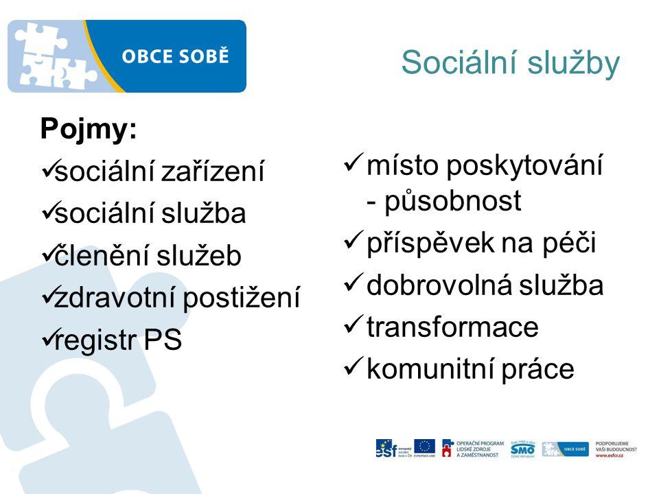 Sociální služby Pojmy: sociální zařízení místo poskytování - působnost