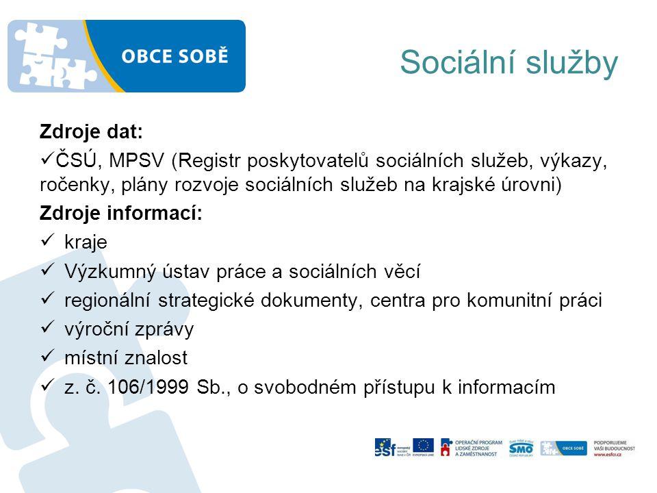 Sociální služby Zdroje dat: