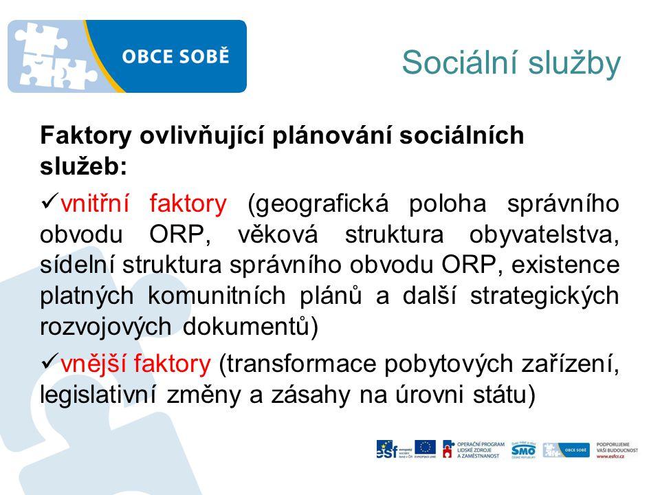 Sociální služby Faktory ovlivňující plánování sociálních služeb: