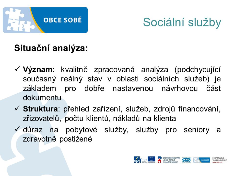 Sociální služby Situační analýza: