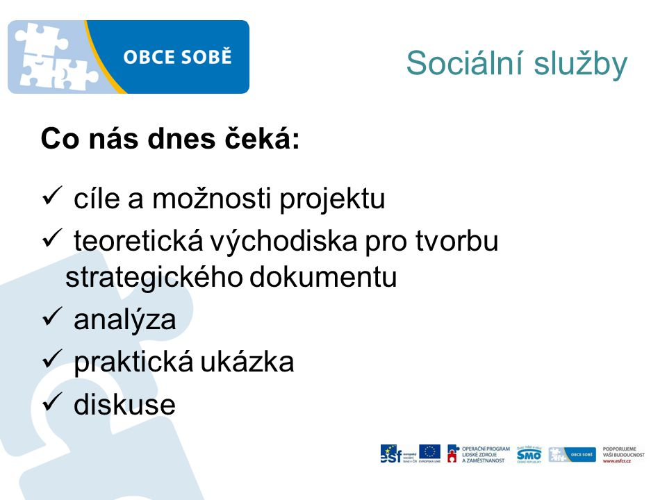 Sociální služby Co nás dnes čeká: cíle a možnosti projektu