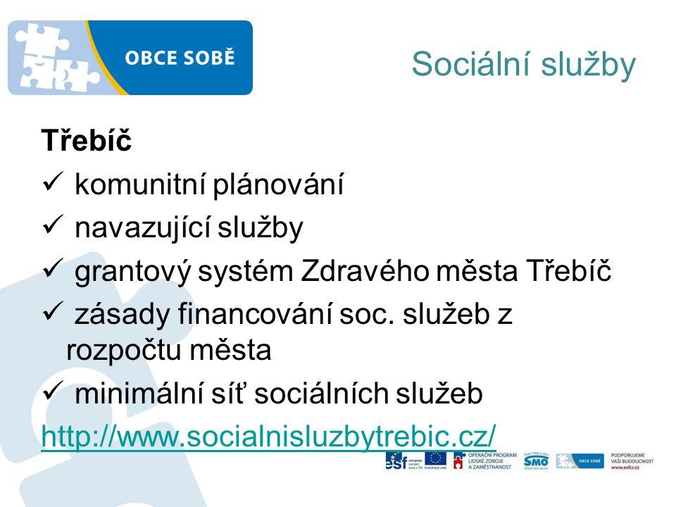 Sociální služby Třebíč komunitní plánování navazující služby