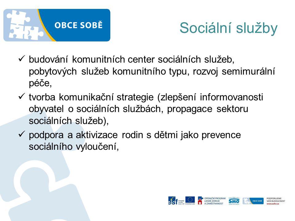 Sociální služby budování komunitních center sociálních služeb, pobytových služeb komunitního typu, rozvoj semimurální péče,