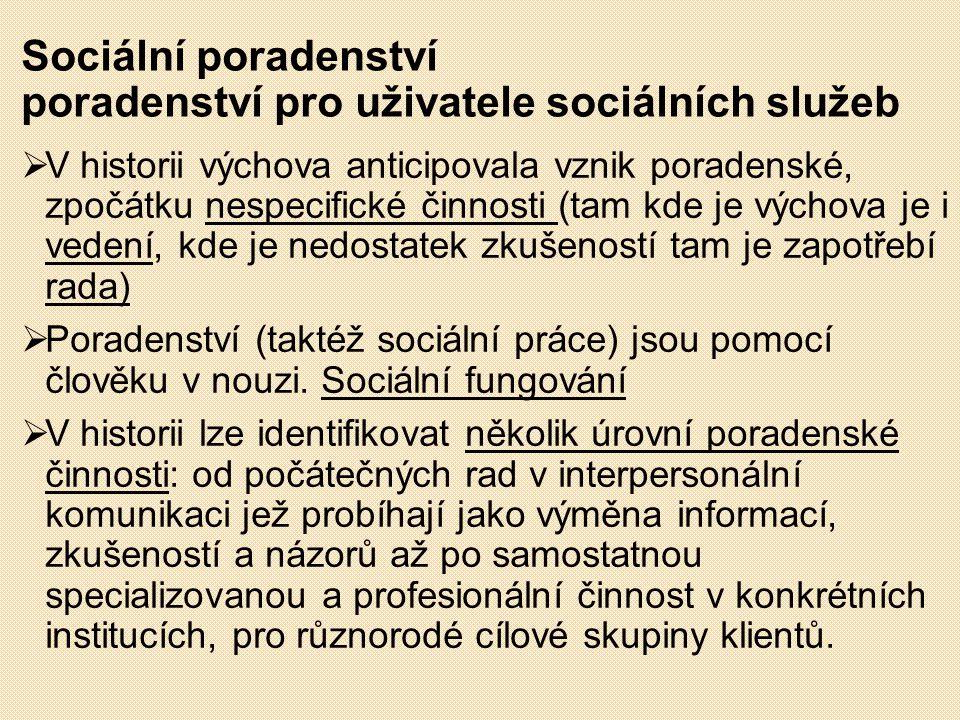 Sociální poradenství poradenství pro uživatele sociálních služeb