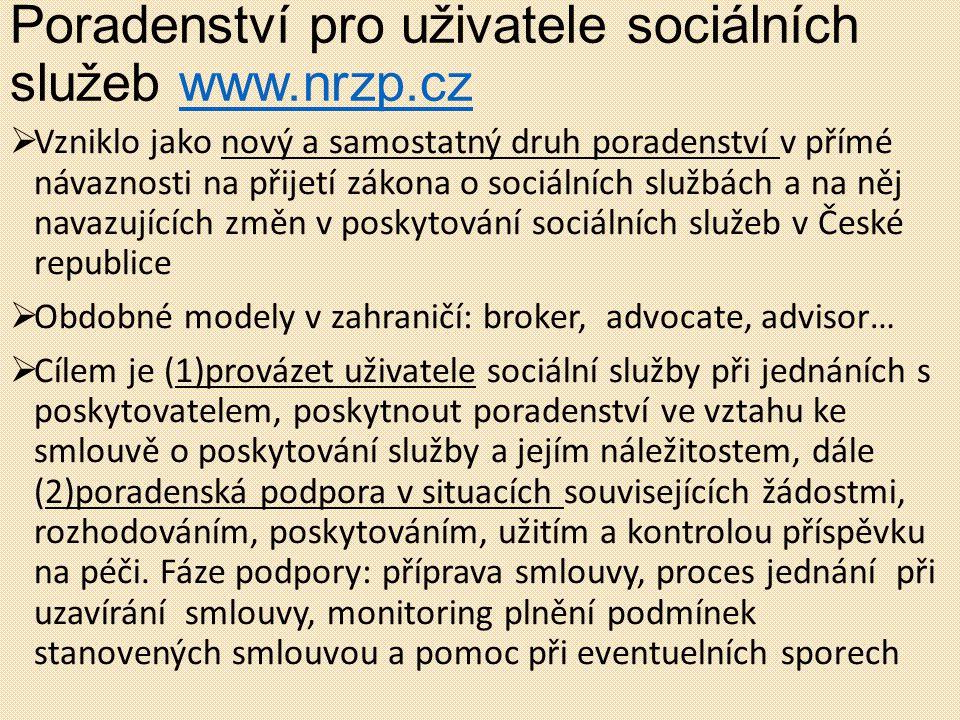 Poradenství pro uživatele sociálních služeb www.nrzp.cz