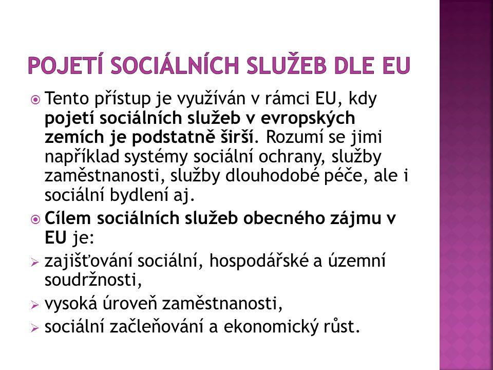 Pojetí sociálních služeb dle EU