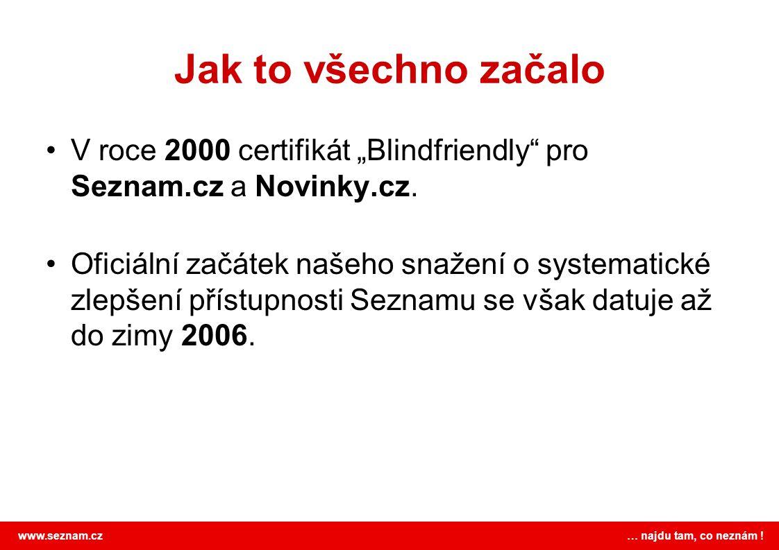 """Jak to všechno začalo V roce 2000 certifikát """"Blindfriendly pro Seznam.cz a Novinky.cz."""
