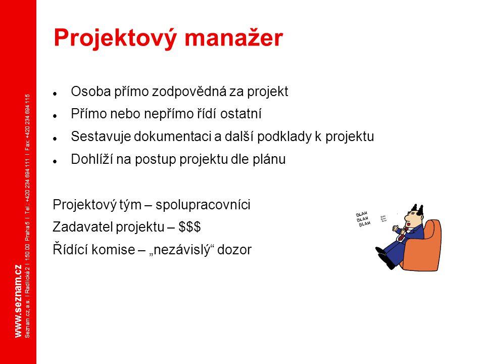 Projektový manažer Osoba přímo zodpovědná za projekt