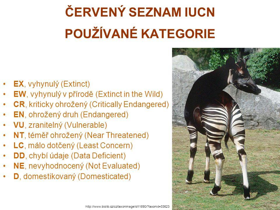 ČERVENÝ SEZNAM IUCN POUŽÍVANÉ KATEGORIE