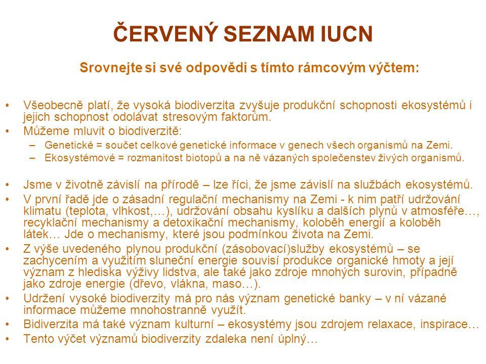 ČERVENÝ SEZNAM IUCN Srovnejte si své odpovědi s tímto rámcovým výčtem: