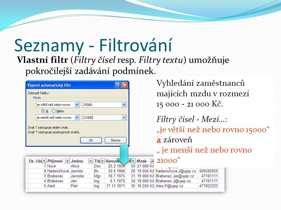 Seznamy - Filtrování Vlastní filtr (Filtry čísel resp. Filtry textu) umožňuje pokročilejší zadávání podmínek.