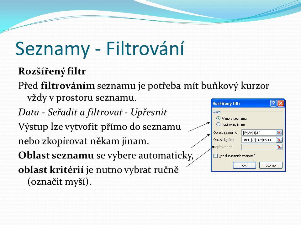 Seznamy - Filtrování