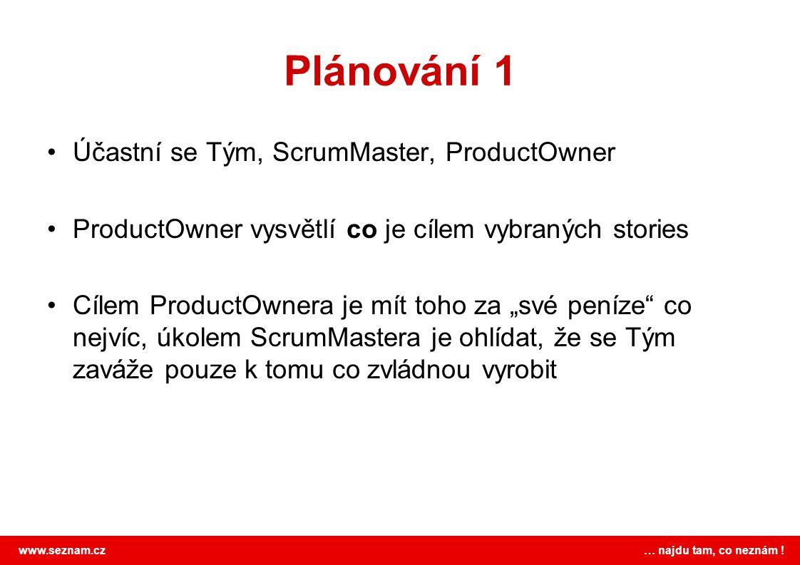 Plánování 1 Účastní se Tým, ScrumMaster, ProductOwner