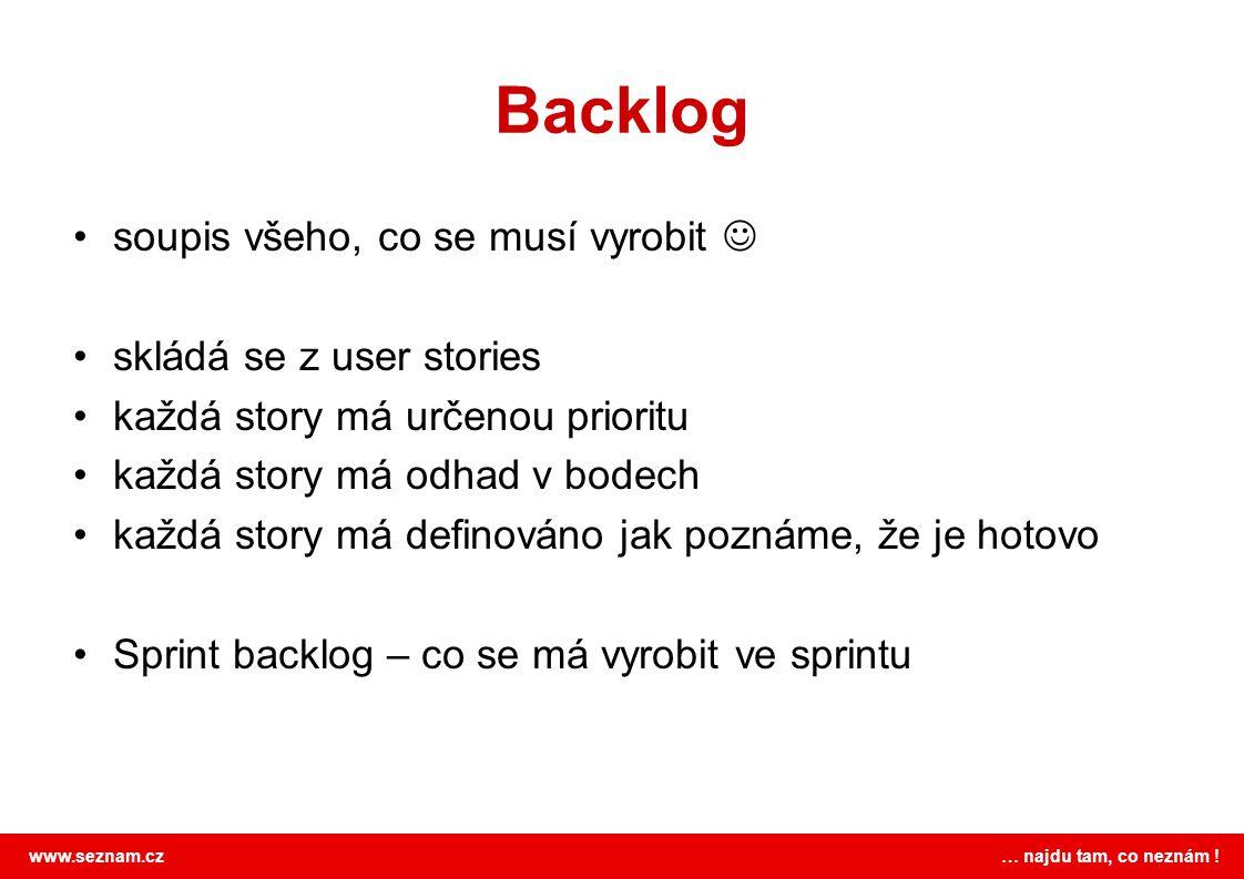 Backlog soupis všeho, co se musí vyrobit  skládá se z user stories