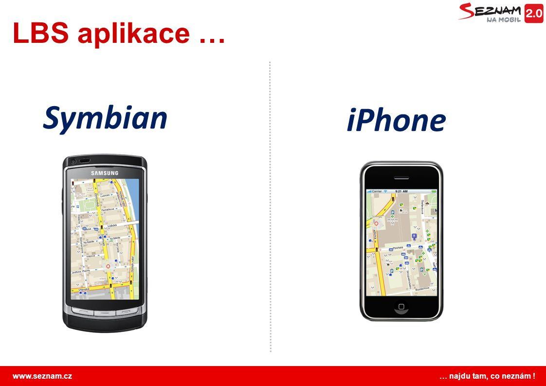 LBS aplikace … Symbian iPhone