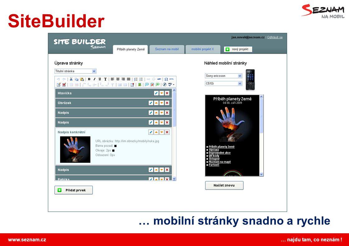 SiteBuilder … mobilní stránky snadno a rychle