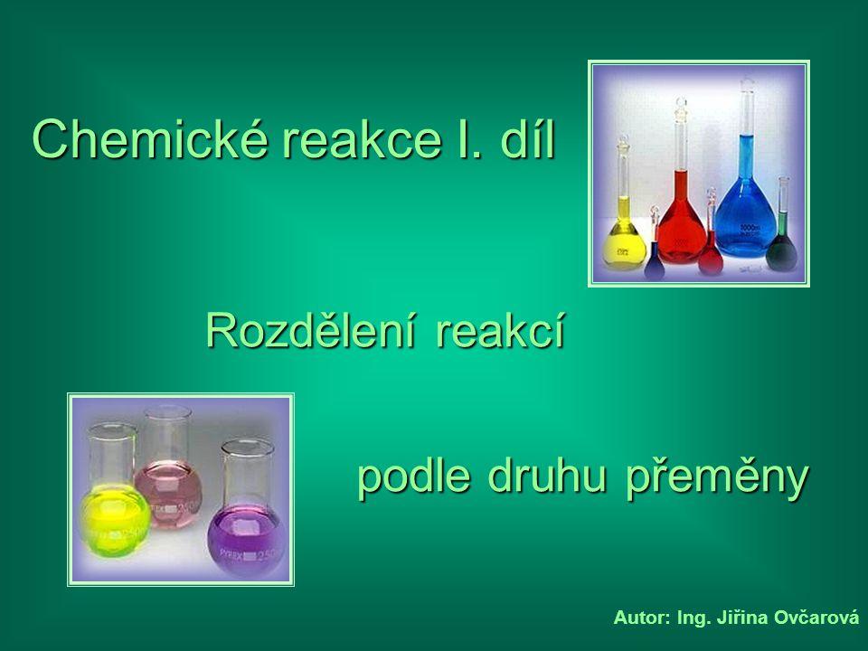 Chemické reakce I. díl Rozdělení reakcí podle druhu přeměny