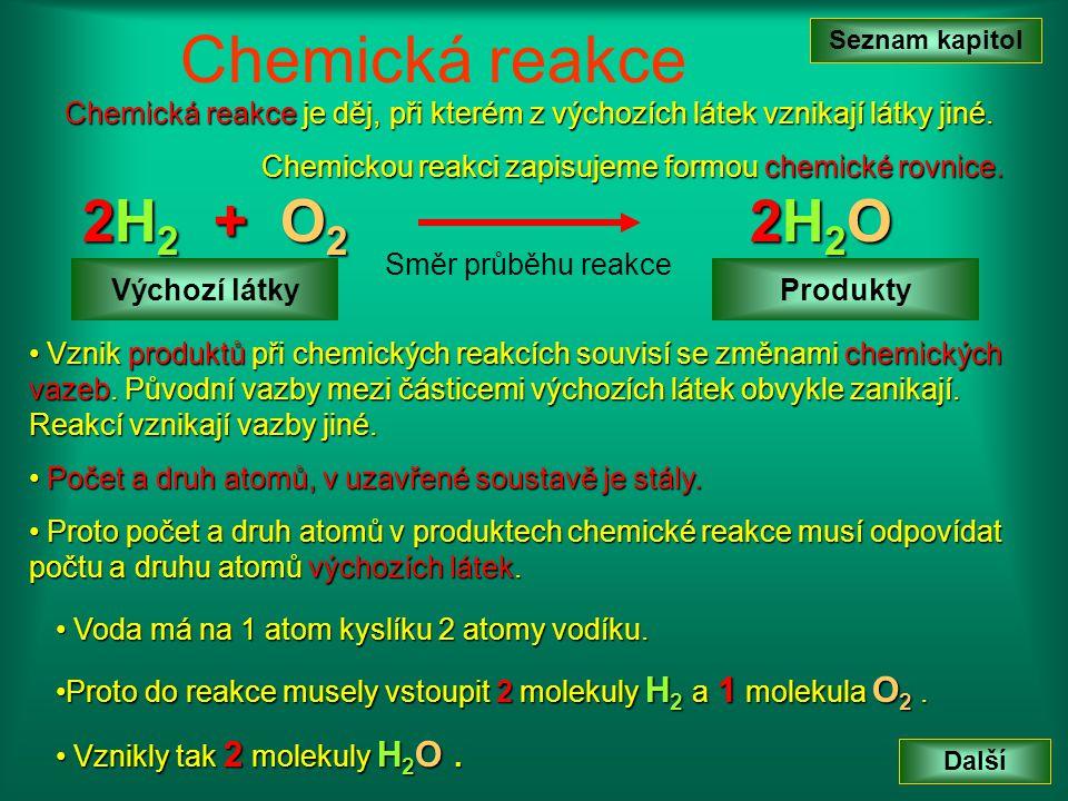 Seznam kapitol Chemická reakce. Chemická reakce je děj, při kterém z výchozích látek vznikají látky jiné.