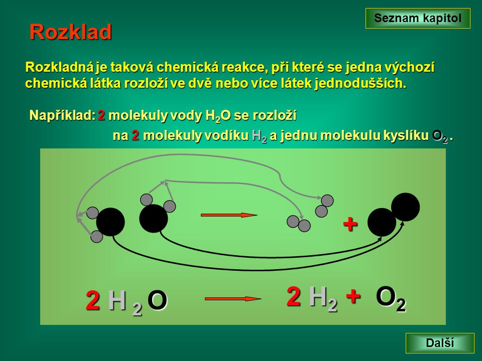 Seznam kapitol Rozklad. Rozkladná je taková chemická reakce, při které se jedna výchozí chemická látka rozloží ve dvě nebo více látek jednodušších.