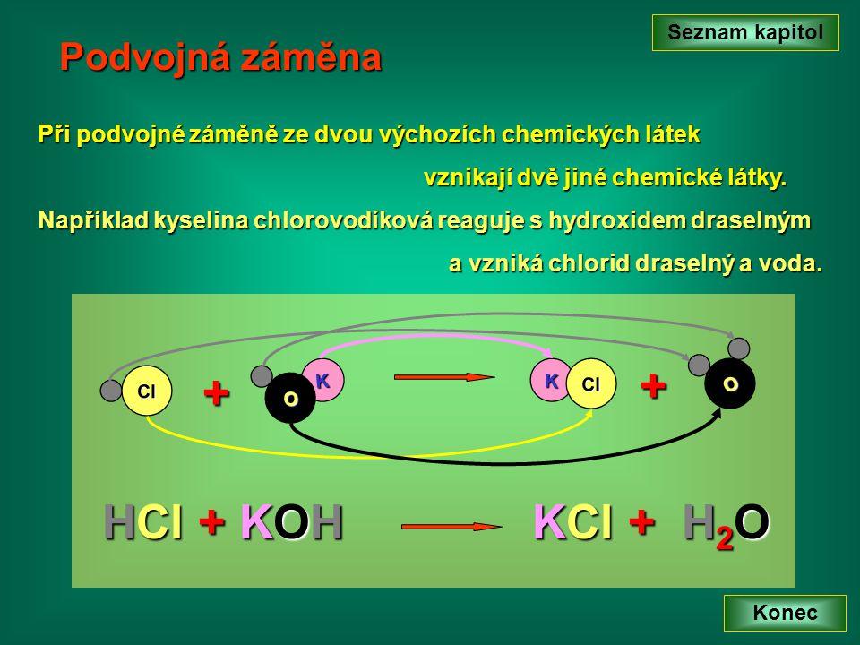 + + HCl + KOH KCl + H2O Podvojná záměna