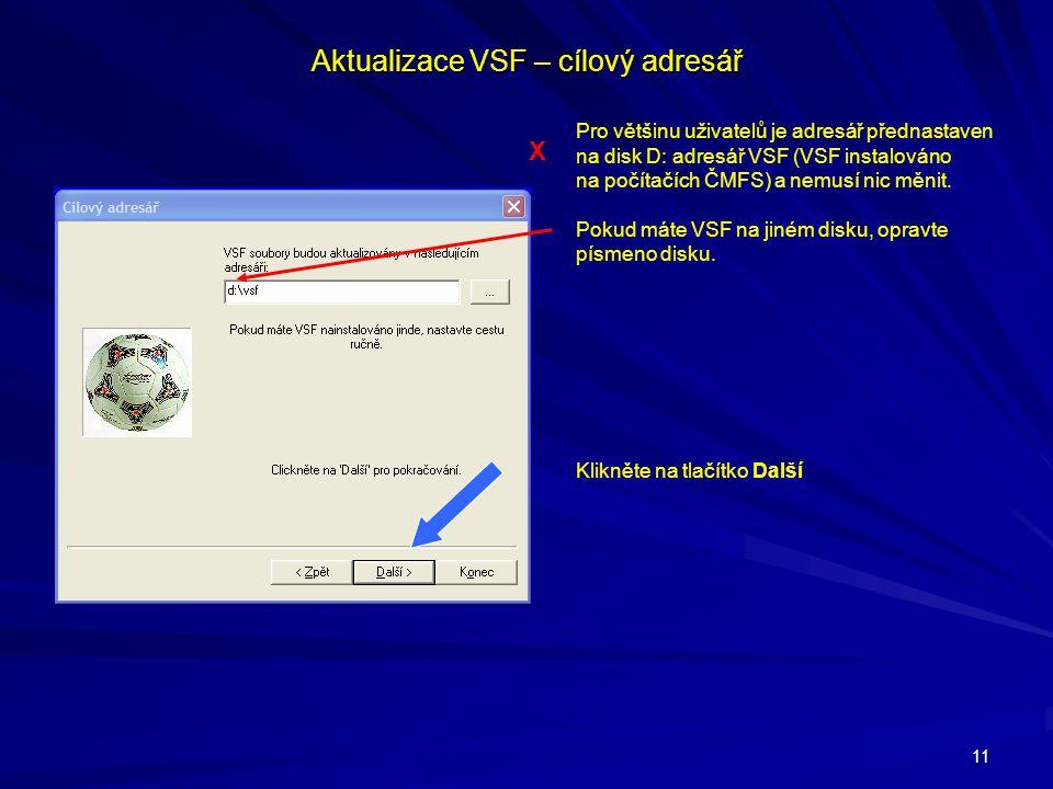 Aktualizace VSF – cílový adresář