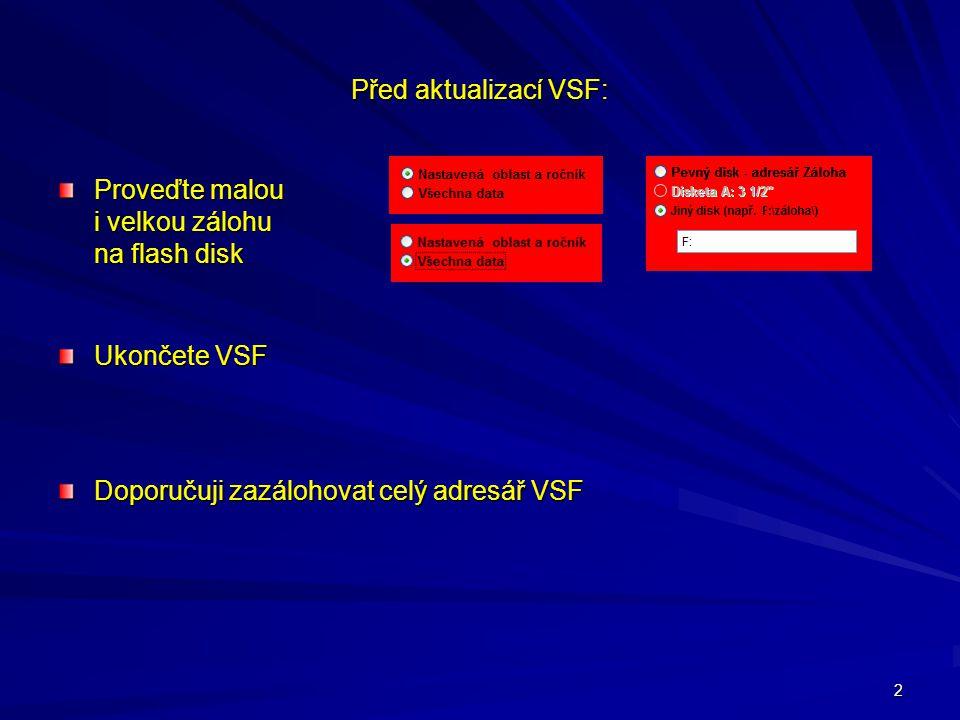 Před aktualizací VSF: Proveďte malou i velkou zálohu na flash disk.