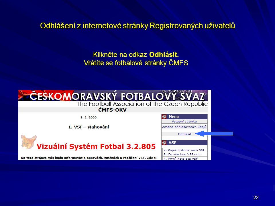 Odhlášení z internetové stránky Registrovaných uživatelů
